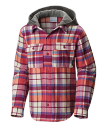 A kids button-up hooded shirt.