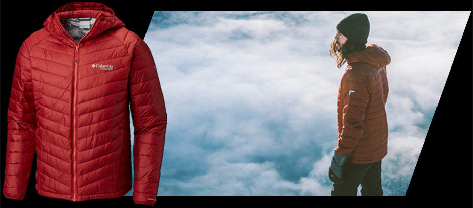 Close-up of a jacket with Omni-Heat 3D. A man standing on a mountainside with an Omni-Heat 3D jacket.
