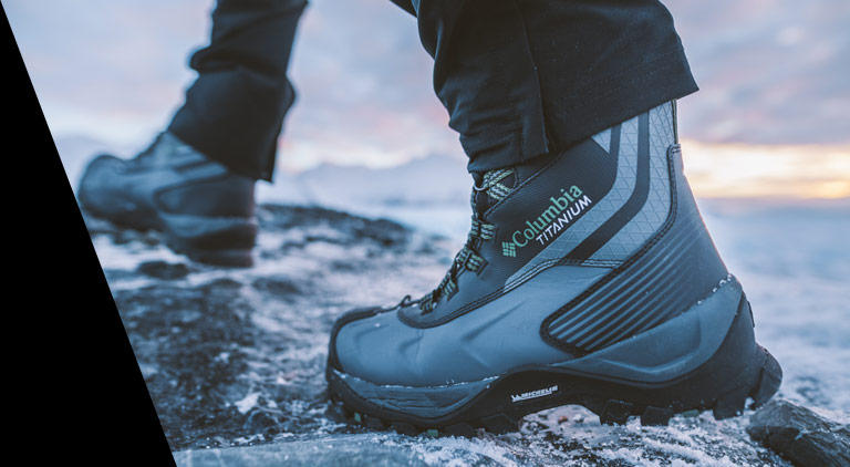 Close-up of gray and black Titanium boots.