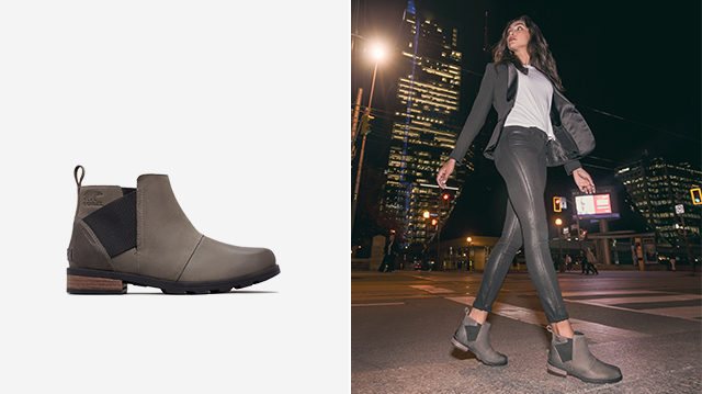 421efef4ce Left: Profile of an Emelie Chelsea boot, Right: Woman walking through city  at