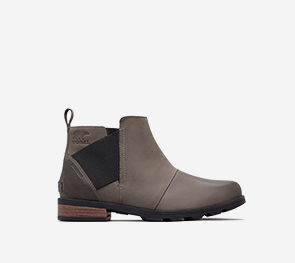 Profile view of a quarry Emelie Chelsea boot