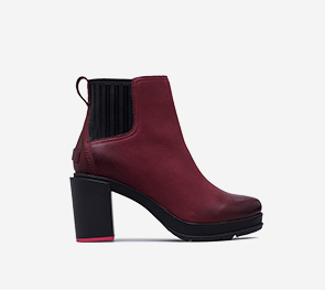 Profile view of a rich wine Margo Chelsea boot