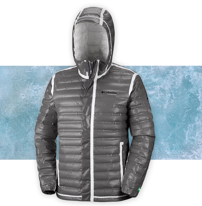 A charcoal OutDry Extreme Eco Down jacket on an icy background.