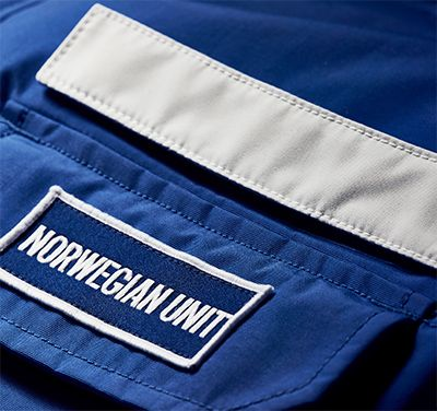 Detail of customizable name plate on chest pocket.