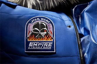 Detail of Vader with Flames patch.