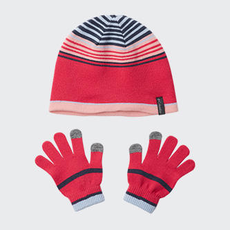 A stocking hat and glove set for kids.