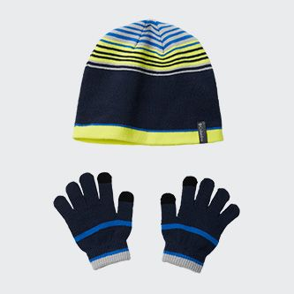 A stocking hat and glove set for boys.