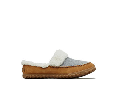 Profile image of a light grey Out 'N About slide slipper on a white background