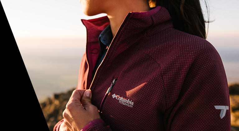 A person in a Columbia Titanium zip-up.
