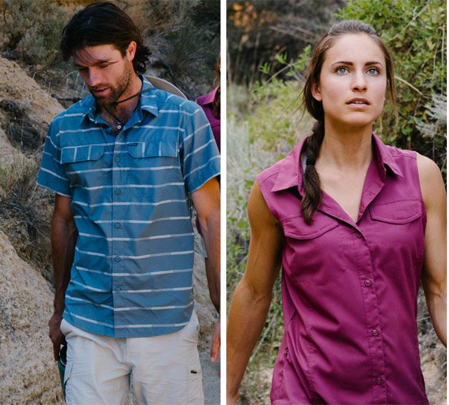 A split screen showing a man and a woman wearing Columbia Silver Ridge gear.