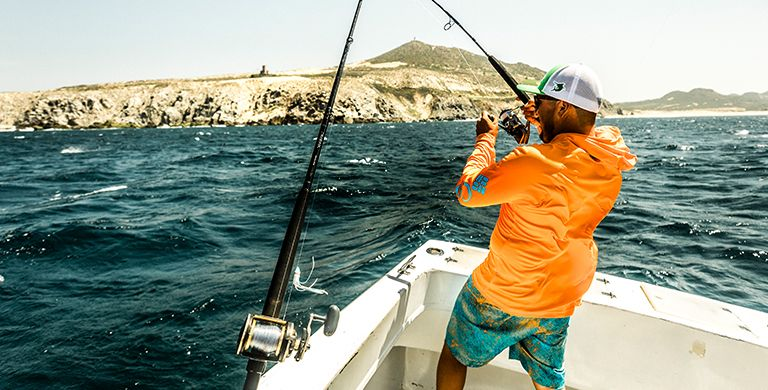 An angler deep sea fishing.