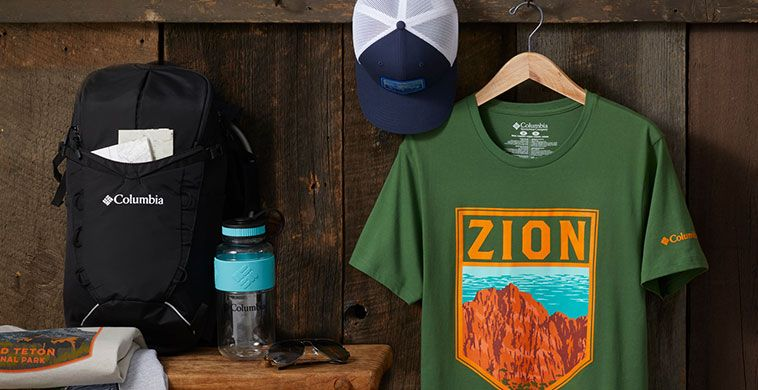 Assorted national park t-shirts and trail products