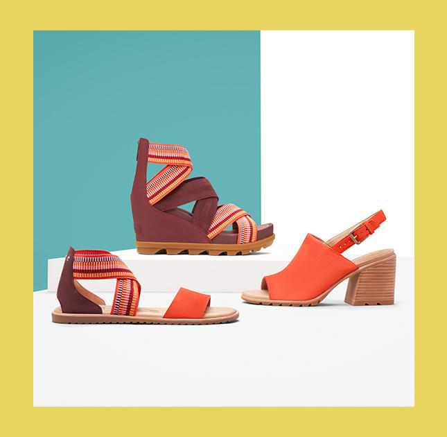 4db68c5e6 Three different coral colored spring sandals with a colorful background