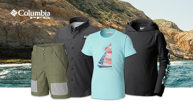 29e432ac30 Kids PFG clothes in front of a rocky ocean shoreline background.