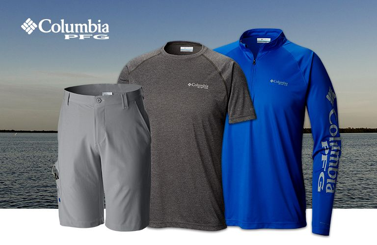 cca58d9cdce8 Terminal Tackle shirts and shorts in front of an ocean background.