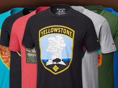 Colorful variety of t-shirts showcasing different U.S. national parks.