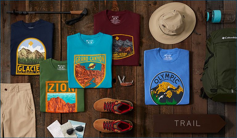 Assorted national park t-shirts and trail products.