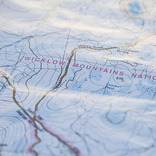 Close-up of a map of the Wicklow Round in Ireland.