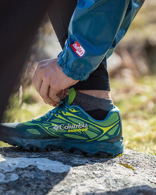Close-up of a Columbia Montrail Trans Alps FKT II Shoe.