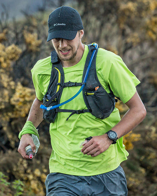 Joe McConaughy running in Columbia Montrail gear on the Wicklow Round.
