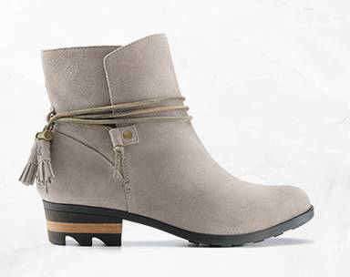A lo-cut boot with tassel.