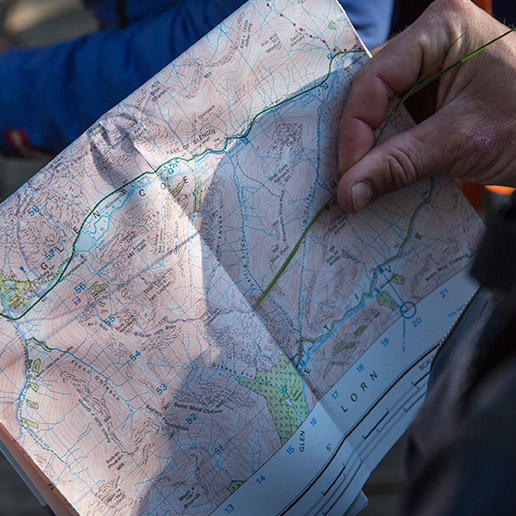 Close-up of a map of the West Highland Way in Scotland.