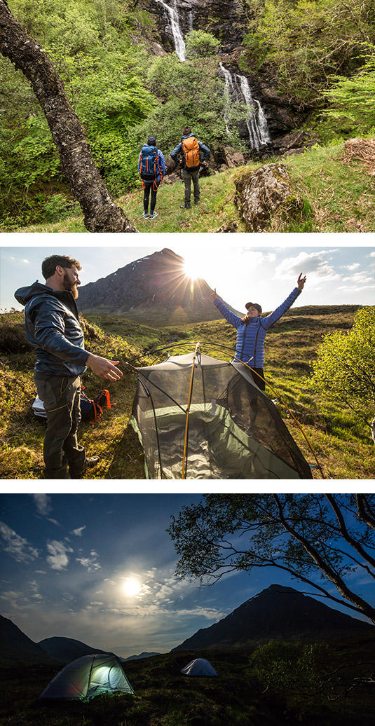 Mamrie Hart and Aldo Kane on the West Highland Way in Scotland.