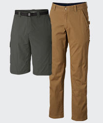 Columbia pants and shorts for men.