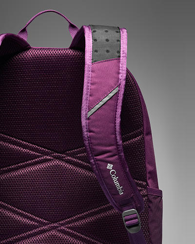 Close-up detail of a purple and black everyday Columbia pack.