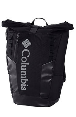 Close-up of a Columbia roll-top bag.
