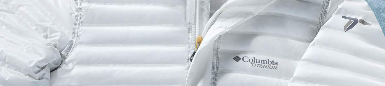 Close up of a white Titanium OutDry Ex Eco Down Jacket.