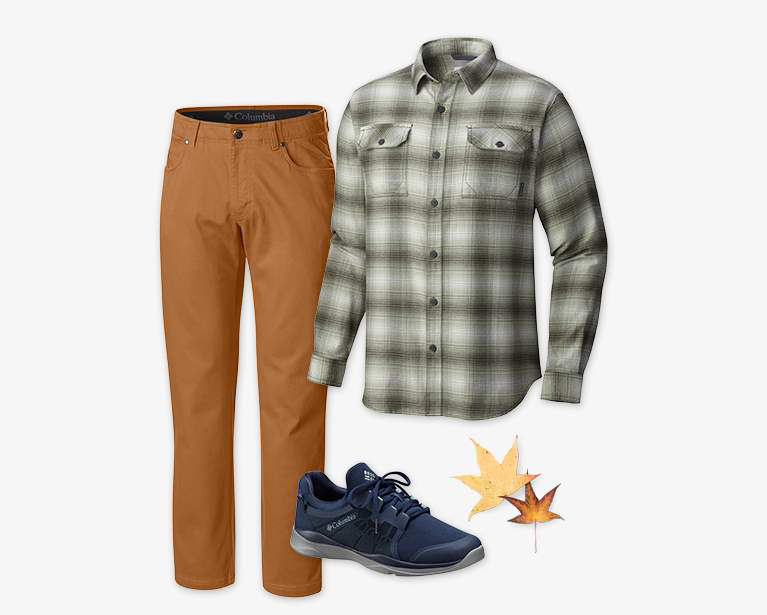 Close-up collage of a men's Pilot Peak 5 Pocket Pant (in orangish brown),  Flare Gun Flannel II Long Sleeve Shirt (in light and dark green), and a dark blue ATS Trail LF92 shoe.