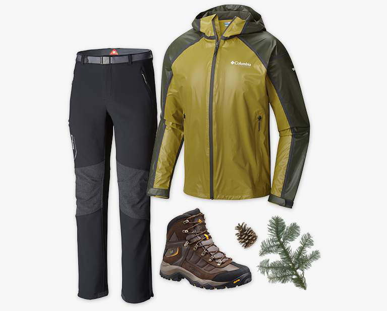 Close-up collage of a men's black Titan Ridge II pant, mustard and black OutDry Ex Gold Tech Shell, and a brown and gray Daska Pass III Titanium OutDry Shoe.