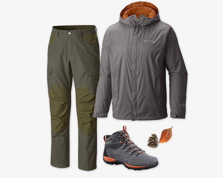 Close-up collage of a men's green Twisted Divide pant, gray and orange Watertight II Jacket, gray, black, and orange PeakFreak shoe.