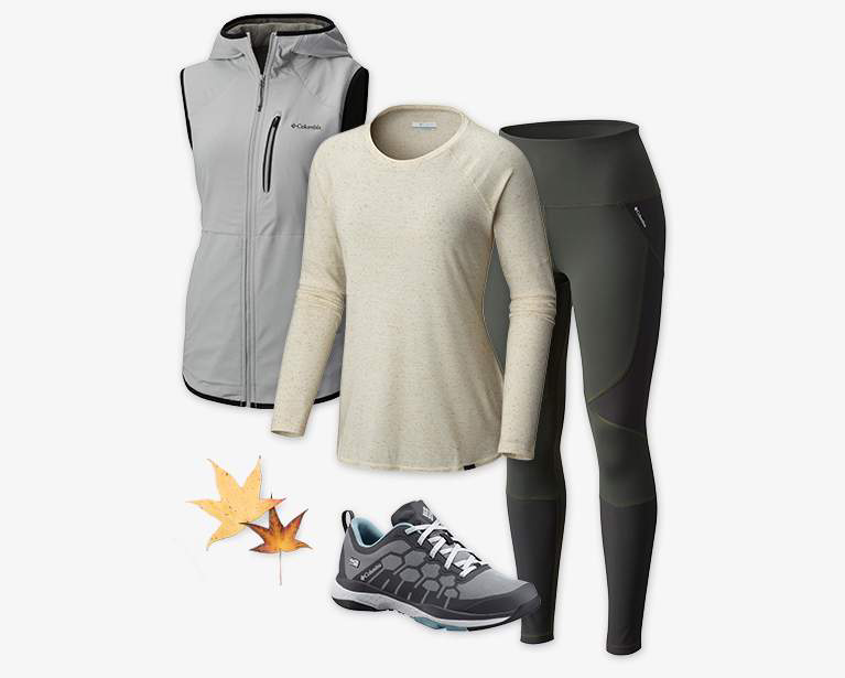 Close-up collage of a women's gray Trail Blaze Vest, tan and white Trail Shaker II Long Sleeve Shirt, black Bryce Canyon Legging, and a gray and black ATS Trail FS38 OutDry shoe.
