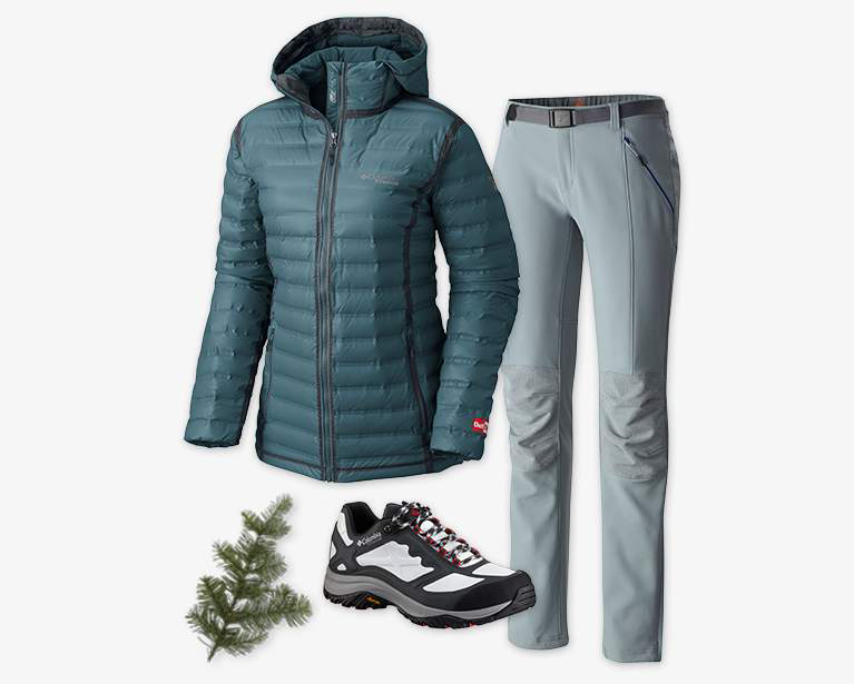 Close-up collage of a women's greenish blue OutDry Ex Gold Down Jacket, gray Titan Ridge II pant, and a white, black, and gray Terrebonne OutDry Extreme Shoe.