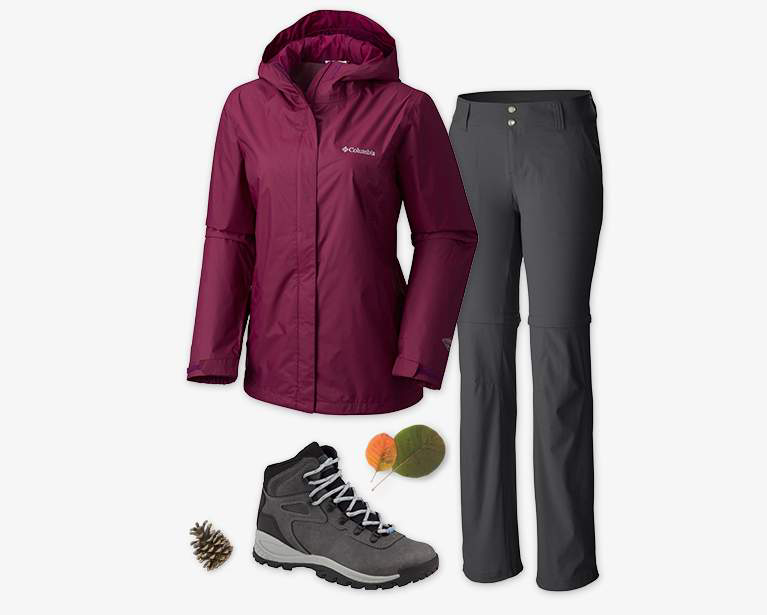 Close-up collage of a women's purple Arcadia II Rain Jacket, gray Saturday Trail II Stretch Convertible Pant, and a gray and black Newton Ridge Plus Hiking Boot.