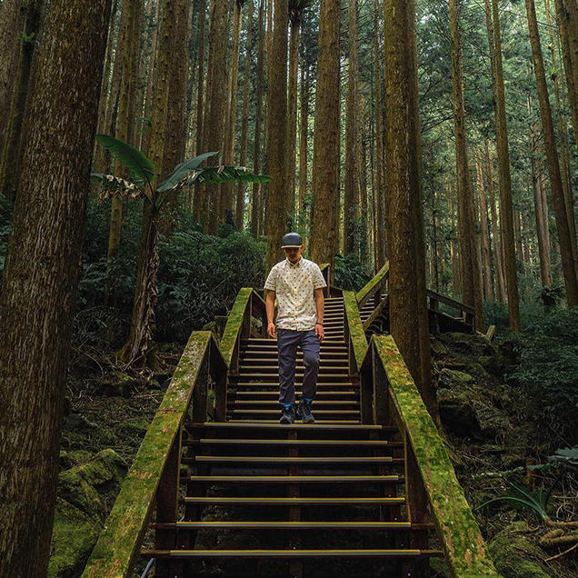 A man wearing Stretch Zion pants and a patterned button-up shirt walks down stairs in the middle of a forest.