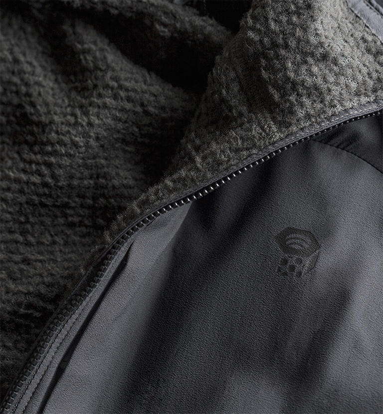Close up of jacket with Polartec lining.