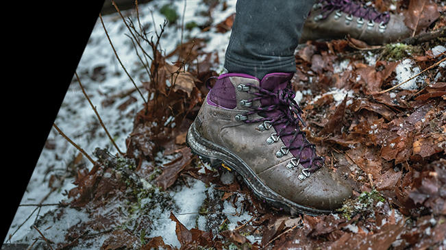 Close-up of an OutDry Eco hiking boot.