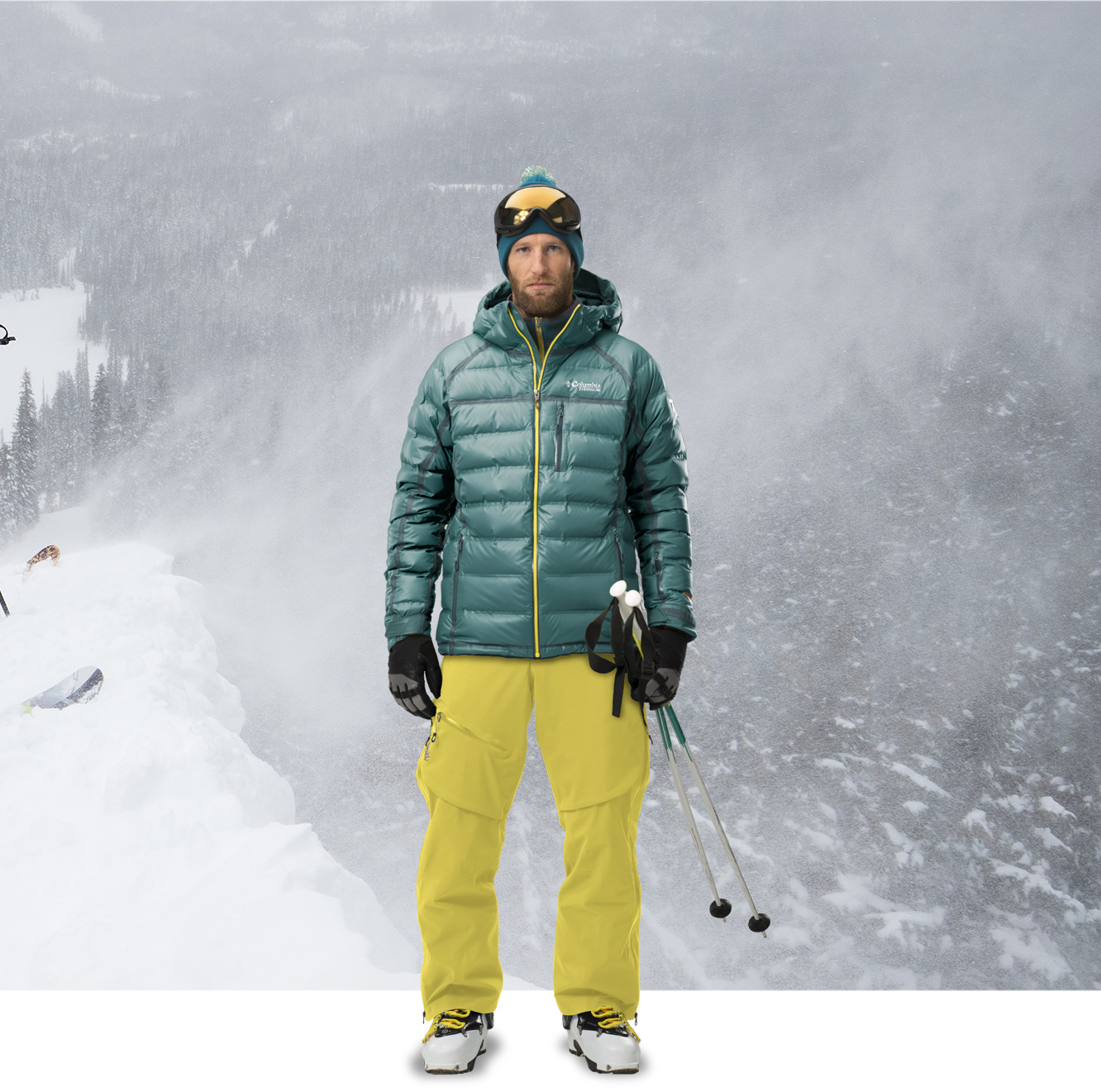 A man standing in a complete ski outfit