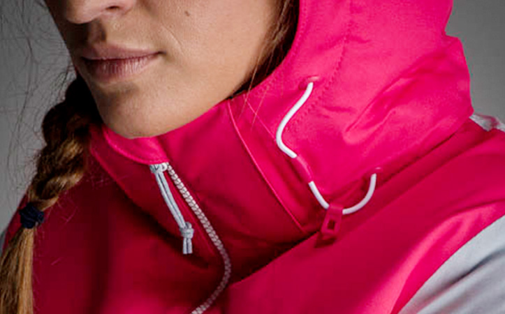 a close up on the chin area of a ski jacket