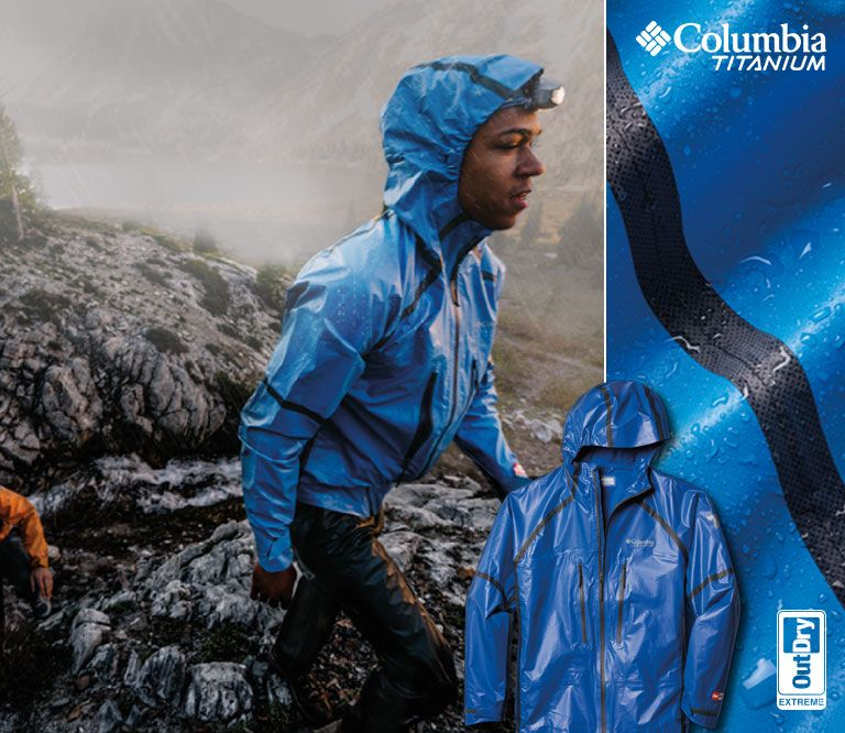 What rain  Man wearing Columbia gear in the rain. A detail of a Columbia a187c584206
