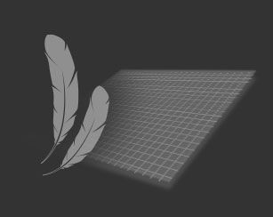 an illustration of synthetic fabric and two feathers