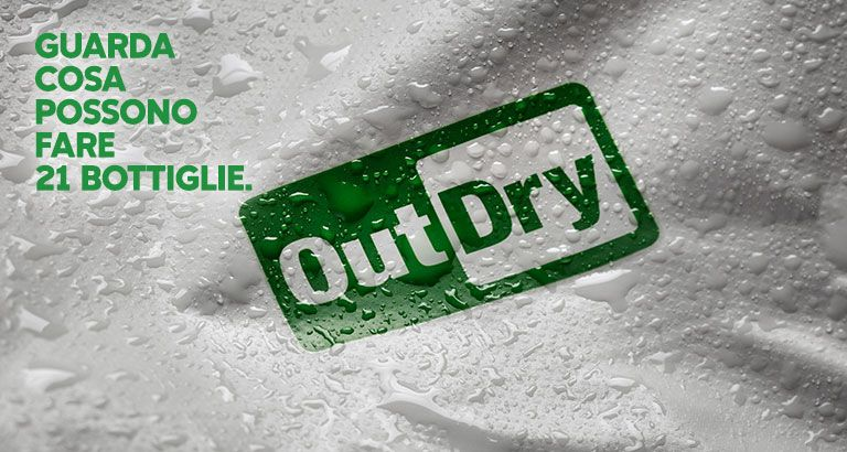 Closeup of the OutDry Extreme Eco fabric and logo with water beaded on the surface