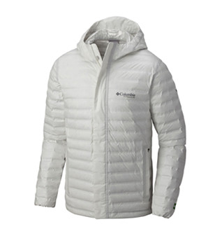 A men's white down eco jacket.
