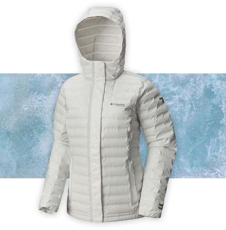 A white OutDry Extreme Eco Down jacket on an icy background.