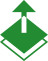 Icon of an up arrow moving away from multilayers