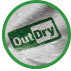 Green OutDry logo on white fabric