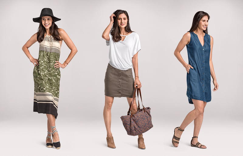 700f4637c1 A woman models three outfits: a patterned dress and hat, an organic cotton t
